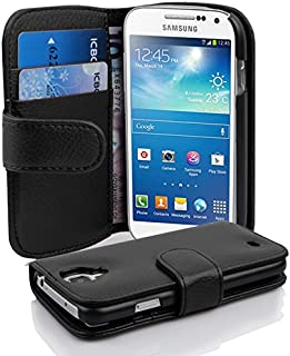 Cadorabo Case Works with Samsung Galaxy S4 Mini in Oxid Black (Design Book Structure) – with 2 Card Slots – Wallet Case Etui Cover Pouch PU Leather Flip