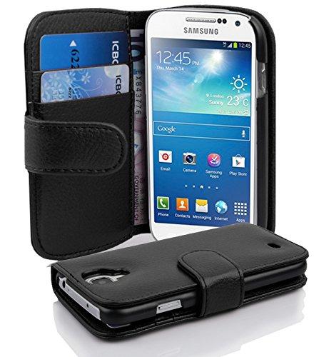 Cadorabo Hülle für Samsung Galaxy S4 Mini - Hülle in Oxid SCHWARZ – Handyhülle mit Kartenfach aus struktriertem Kunstleder - Case Cover Schutzhülle Etui Tasche Book Klapp Style