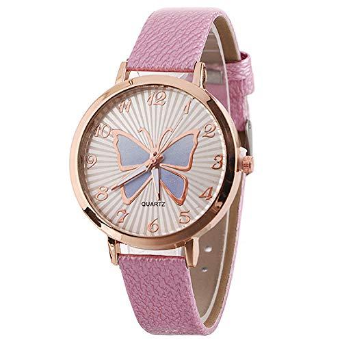 SANDA Reloj Mujer,Termómetro Color patrón de Mariposa Reloj de cinturón Reloj de Pulsera Simple Reloj de Mujer Reloj de Moda-Rosado