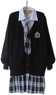 ノーブランド品 JK制服 4点セット 大きいサイズ 女子高生 学校制服 春秋冬用 スクール仮装 コスチューム JKコスプレ クラスの服 M 4点セット 黒カーディガン+綿・シャツ+チェック柄スカート+ネクタイ