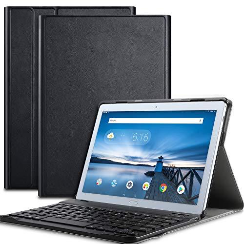 ELTD Tastatur Hülle für Lenovo TAB P10 [Deutsches QWERTZ-Layout], Ultraslim SmartShell Ständer PU Leder Hülle mit magnetisch Abnehmbarer Kabellose Tastatur für Lenovo TAB P10 2018 [Schwarz]