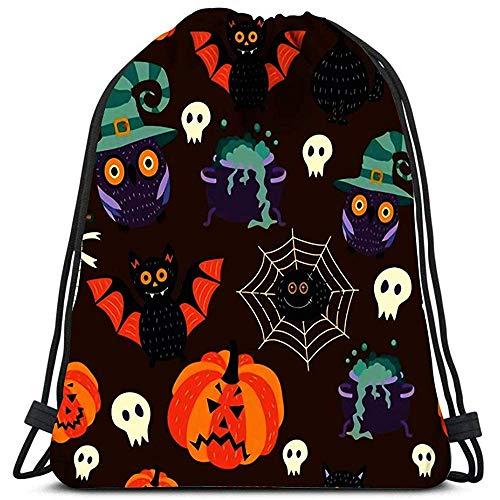 jenny-shop Kordelzug Taschen Rucksack flach Halloween Herbstferien Symbole Schwarze Katze Fledermaus Kürbisse Zombie Withc BO Travel Gym Taschen