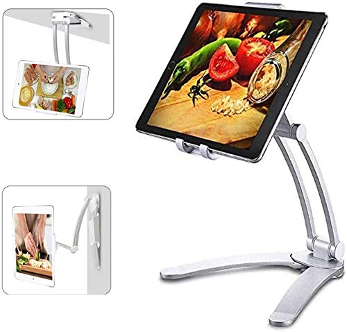 "AERZETIX Wall Hanging Tablet Stand 2 in 1 Kitchen Desktop Pull-Up Lazy Bracket Adjustable Wall Mount Holder Fit for 5-13"" Width Bracket i-Pad Phone (Silver)"