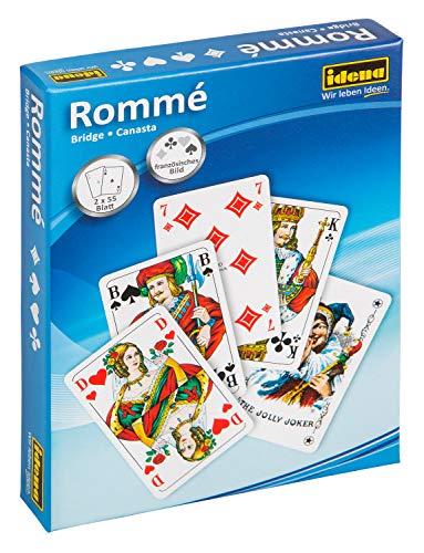 Idena 6250080 - Spielkarten für Rommé, Canasta und Bridge, 2 x 55 Karten, französisches Blatt, für abwechslungsreiche Spieleabende
