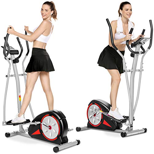 Aceshin Elliptical Machine Magnetic Elliptical Training Machine for Home Use Elliptical Training Machines with LCD Monitor and Smooth Quiet Driven Pulse Rate Grips (Black Red)
