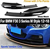 HYNB Cubierta de paragolpes Delantero de 2 Partes Lip Car Styling Paragolpes ABS Solo para la versión Deportiva para BMW F30 3 Series M Style 2012-2018 Negro Brillante