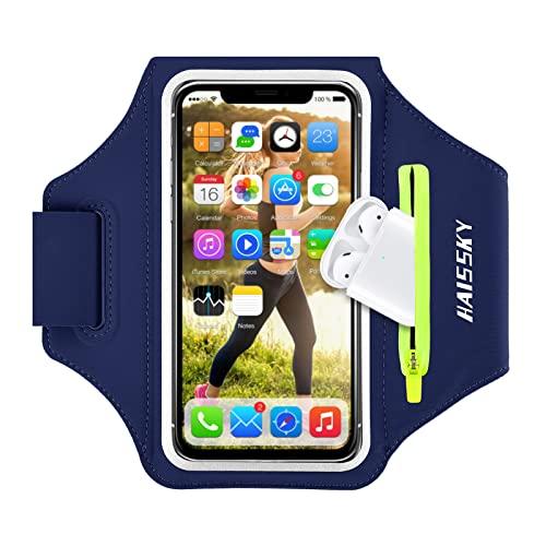 HAISSKY Handy Schweißfest Sportarmband Mit Airpods Tasche für iPhone 12 Pro MAX/iPhone 11/11 Pro/XR/XS/X/8 Plus/7 Plus/8/7/6s/6,Huawei P20 Pro /P30 Pro/Mate 20 Xiaomi,LG Mit Kabelfach/Kartenhalter