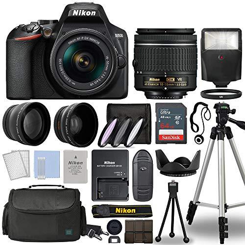 Nikon D3500 Digital SLR Camera Body with Nikon Nikkor 18-55mm AF-P DX f/3.5-5.6G VR Lens DSLR Kit Bundled with Complete Accessory Bundle + 64GB + Flash + Case & More - International Model