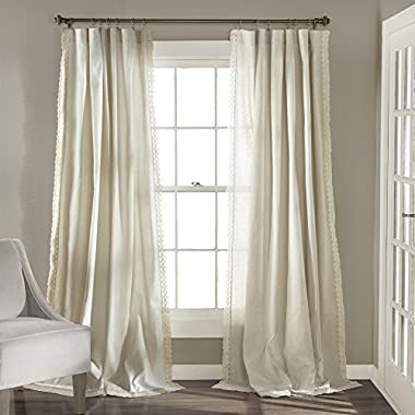 Lush Decor Rosalie Window Curtain Valance Panel Pair, 84  x 54 , Ivory