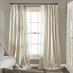 Lush Décor Rosalie window panel set is the ideal curtain for your shabby chic, modern or farmhouse decor. Delicate, elegant window curtain panels made of a linen fabric blend with a lace edge border. These curtains add a dreamy touch for your bedroom...