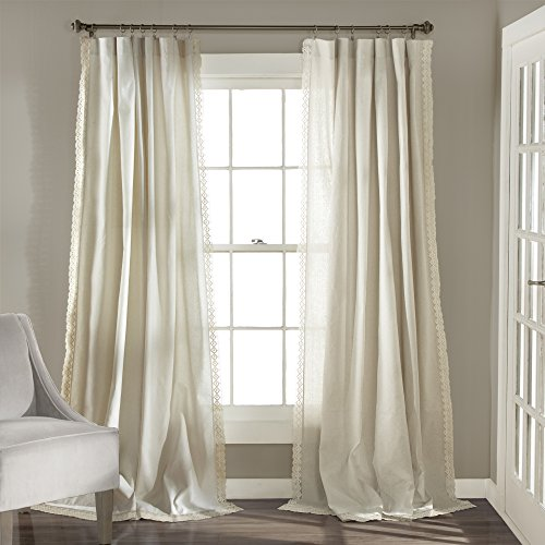 Lush Decor Rosalie Window Curtains Panel Set for Living, Dining Room, Bedroom (Pair), 95' x 54', Ivory