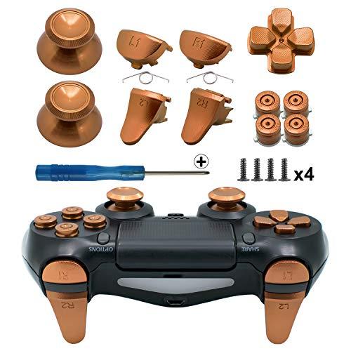 Tomsin Metalltasten für PS4 Slim/PS4 Pro Controller, Aluminium-Metall-Daumensticks, Analoger Griff & Bullet-Knöpfe & D-Pad & L1 R1 L2 R2 Trigger für PS4 Controller Gen 2, gold