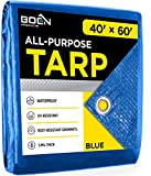 Multi-Purpose Blue Poly Tarp Cover 5 Mil Thick Weave Material, Waterproof, Great for Tarpaulin Canopy Tent, Boat, RV or Pool Cover and More (40' x 60')