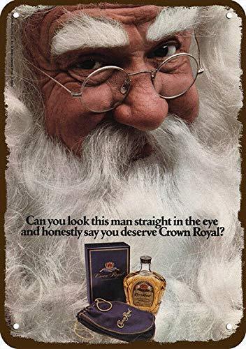 1979 CROWN ROYAL Whisky Vintage Look REPLICA METAAL SIGN CHRISTMAS SANTA CLAUS Home Vintage Metalen bord 8x12 inch