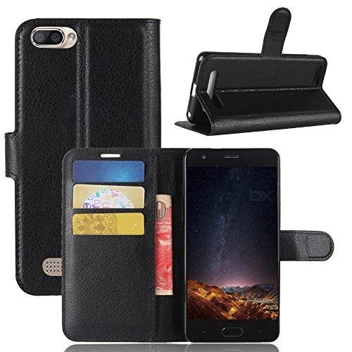 ECENCE Handy-Schutzhülle - Handytasche für Doogee X20 Schwarz - Smarthone Hülle Cover stoßfest mit Kartenfach - Handycase mit Stand-Funktion 11030107