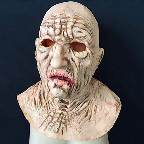 LZRDZSWCW Halloween Horror Falten Alter Mann Maske , Realistische Ghost House Room Escape Requisiten Film Make-up Shooting Requisiten , Walking Dead Zombie Wizard Devil Mask Karnevalsmaske, gruselig
