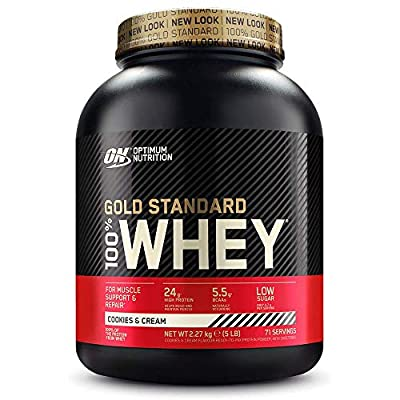Optimum Nutrition Gold Standard 100% Whey Protein Powder with Whey Isolate, Muscle Building Proteins, Cookies & Cream, 74 servings, 2.27 kg