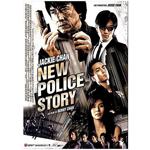 SDGW Película De La Nueva Historia De La Policía, Película Genial De Jackie Chan, Póster De Kungfu Chino, Arte En Lienzo, Carteles De Bar para El Hogar, Decoración-50X75Cm Sin Marco