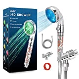 2NLF Led Shower Head with beads, 7 Colors Automatically Changing, Filter Filtration High Pressure Water Saving Spray Handheld Showerhead with hose and base, Soften Hard Water for Dry Skin & Hair