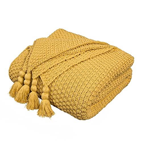 MYLUNE HOME 100% Baumwolle Luxus Stilvolle Strickdecke für Fernsehen oder Nap auf dem Stuhl, Sofa und Bett 130 * 160cm (Senfgelb