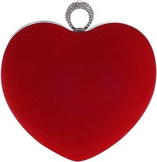 Yealize Women's Heart Shaped Clutch Purse Velvet Evening bag Solid Color Handbag