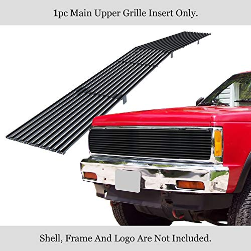 APS Compatible with 1991-1994 Chevy Blazer & 91-93 Chevy S-10 Phantom Main Upper Stainless Steel Black 8x6 Horizontal Billet Grille Insert S18-J23258C
