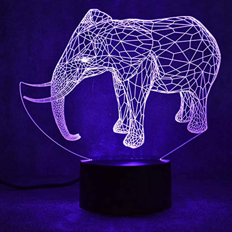 Mozhate 3D USB Führte Visuelle Tier Elefant Leuchte Geschenke Nachttischlampe Tischlampe Urlaub Dekor Nachtlichter,Remote und berühren