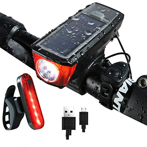 Ultra Bright USB Rechargeable Bike Light Set, Powerful Bicycle Front Headlight and Back Taillight,Bicycle Light Installs in Seconds Without Tools, Mountain, Kids, Street, Bikes