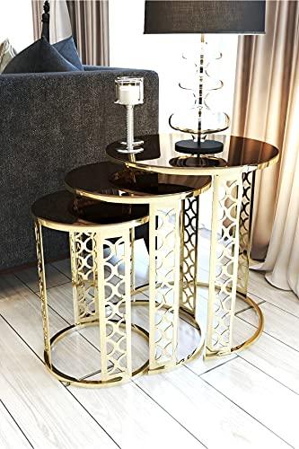 SHUJINGNCE Bronze Mirror Gold Metal Table Basse 3 PCS Bureau Salon de séjour Cuisine Meubles de Maison Table Basse Accessoires Accessoires Bar Dîner de Turquie (Color : Gold)