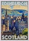 Cartel vintage de estaño para decoración de pared, diseño de Edimburgo, Escocia y bar, restaurante, metal, 30,5 x 20,3 cm