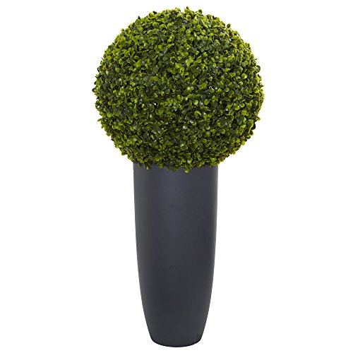 """Nearly Natural Artificial Plant (Indoor/Outdoor) 30"""" Boxwood Topiary in Gray Cylinder Planter, Green"""