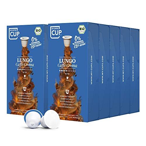 My-CoffeeCup – LUNGO CAFFÈ CREMA– BIO-KAFFEE 10 PACKUNGEN I 100 Kaffeekapseln für Nespresso®*-Kapselmaschinen I 100{adcdca534c44cee84cc2c48e53726d6f7dd6981bc42b01d426e6681ce6bdfd11} industriell kompostierbare Kaffeekapseln – 0{adcdca534c44cee84cc2c48e53726d6f7dd6981bc42b01d426e6681ce6bdfd11} Alu I Nachhaltige Kaffeekapseln