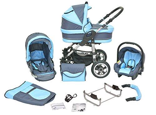 Kombi Kinderwagen X6 - 3 in 1 - Kombikinderwagen Buggy graphit-hellblau