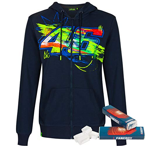 Valentino Rossi Zip-Hoodie Winter Test blau + 2X FANERGY Traubenzucker (XXL)