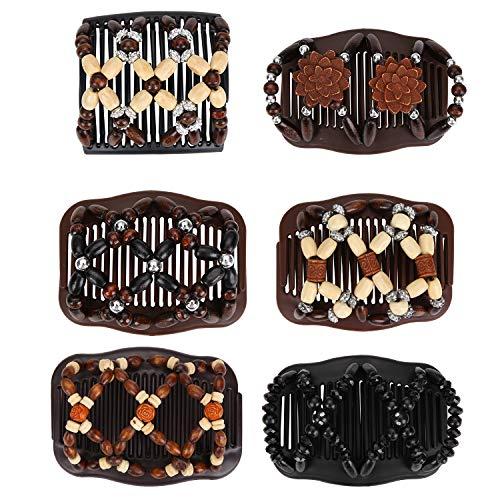 Ulikey 6 Pcs Peignes de Cheveux Perles Élastiques Magiques Peignes de Cheveux Extensible Double Clips Pinces à Cheveux Accessoires de Cheveux pour Femmes Accessoires de Cheveux de Filles