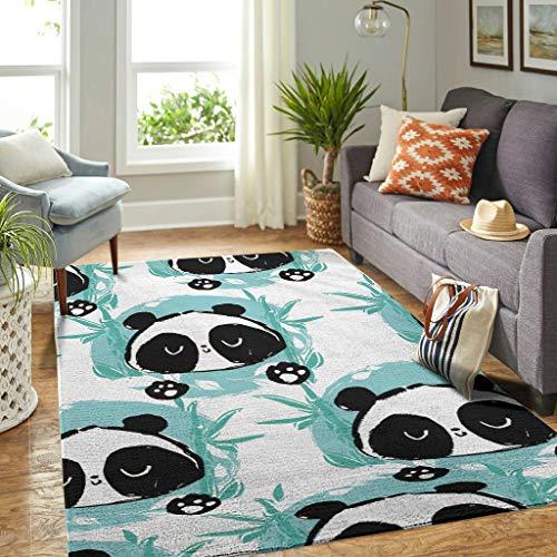 Veryday Panda Bambus Teppich Vintage Wohnzimmer Teppich als Türmatte Türvorleger für Schlafzimmer Flur White 50x80cm