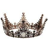 ZRWLZT Corona Barroca Cristal Negro Reina Corona Vintage Tiara Nupcial para Boda Prom Adecuado para Sombreros para Bodas Fiestas de Cumpleaños Concursos de Belleza Y Fiestas de Baile