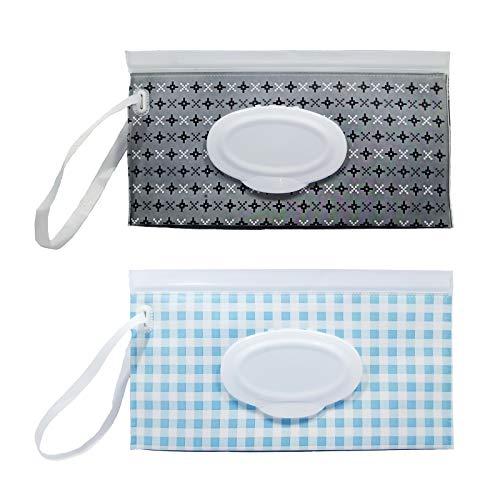 Portable Wet Wipe Pouch, Reusable & Refillable Baby Wet Wipes Holder Case, Travel Tissue Dispenser for Diaper Bag (2 Pcs)(A3)