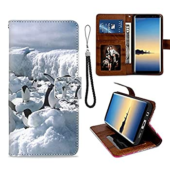 Antarctic Penguin Samsung Galaxy Note 8 Wallet Case for Kickstand PU Leather Card Slot Magnetic Flip Wristlet Phone Cover Samsung Galaxy Note 8 Case Antarctic Penguin