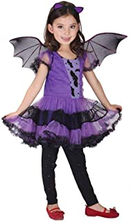 Jxstar Girls Halloween Costume Kids Bat Wing Dresses Witch Hat Cape Clothes