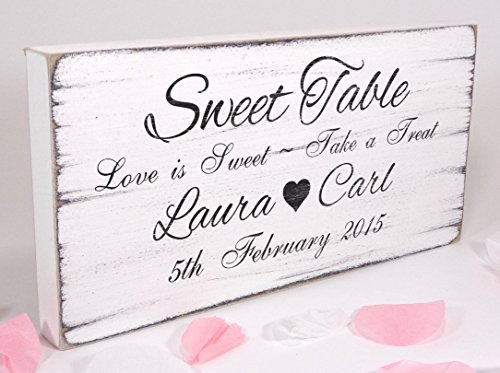 TheSignSmithUK Personalised - Sweet Table 02 - Free Standing White Vintage Wedding Sign - Shabby but Chic