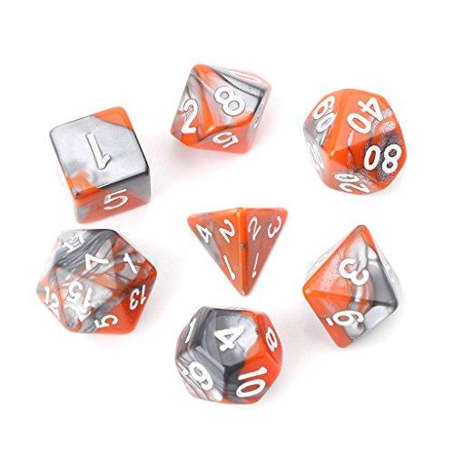 ruiruiNIE 7Piezas / Set Dados poliédricos acrílicos para Juegos de Mesa TRPG Dungeons and Dragons D4-D20 Naranja