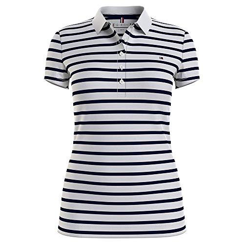 Tommy Hilfiger Short Sleeve Slim Polo Stripe Camiseta sin Mangas para bebés y niños pequeños, Breton Classic - Juego de Accesorios para Bicicleta, S para Mujer