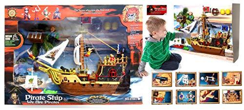 StrMy GALEONE dei Pirati VELIERO Play Set Nave Pirati con Personaggi E Accessori cm 44