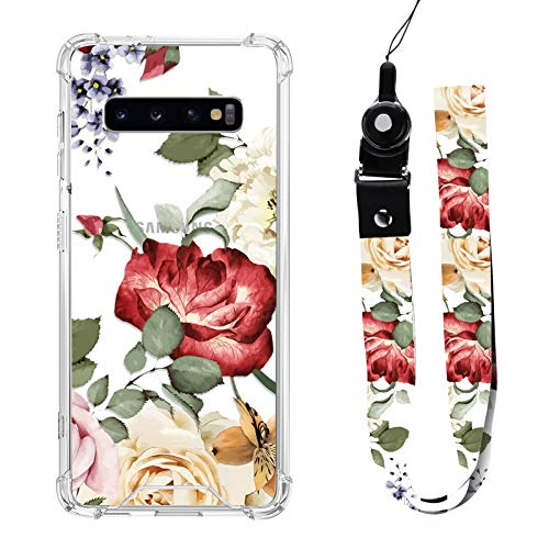 Samsung Galaxy S10 Plus Case Red Floral Design with Neck Strap Lanyard for Women Girls Protective Shockproof Clear Transparent Cell Phone Bumper Cover Case Pink Flower for Galaxy S10 Plus 6.4""