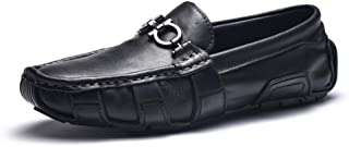 Ranipobo Men Fashion Flat Dress Shoes with Metal Buckle Comfortable Penny Slip-on Boat Shoes for Men (Color : Black, Size : 8 UK)