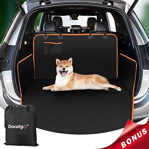 Docatgo Kofferraumschutz für Hund autoschondecke Reißfeste Wasserdichter Quilted Kofferraumdecke Hundedecke Auto mit Rueckbank Seitenschutz Schützt den Kofferraum SUV und die Stoßstange vor Schmutz
