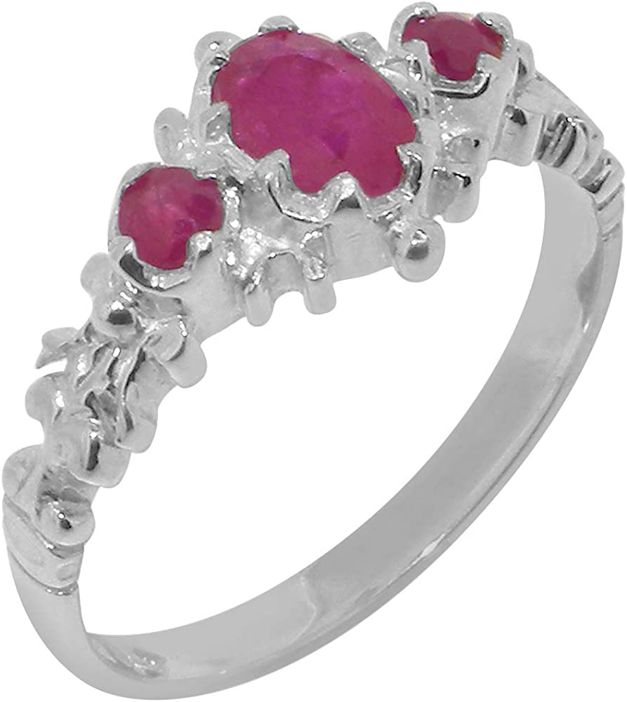 18k White Gold 5 ☆ very popular Natural Ruby Womens Trilogy Ring 4 - Sizes 12 Free shipping on posting reviews to
