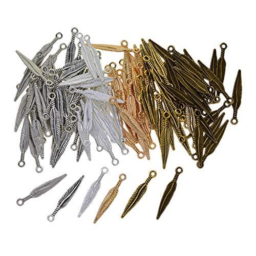 oshhni 120 Piezas Colgantes de Dijes de Plumas de Estilo Vintage Colgantes de Pulsera de Collar DIY
