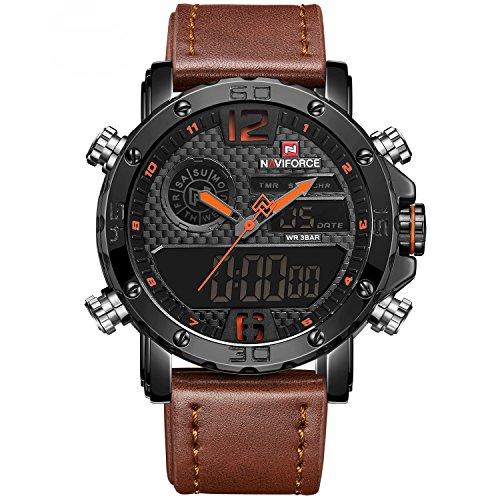 Reloj de pulsera para hombre, analógico, digital, multifuncional, impermeable, de doble...
